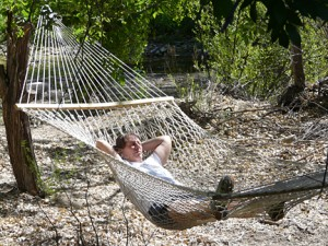 relaxing in a hammock at Casitas de Gila