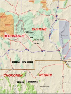 territories of the four Chiricahua bands in