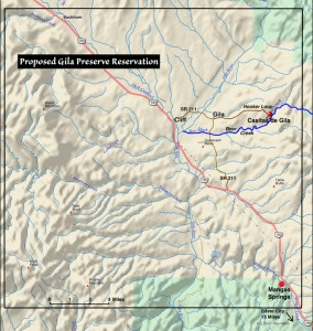 map of proposed Gila Preserve Reservation