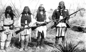Apache chief Geronimo (right) and his warriors in 1886, from left: Yanozha (Geronimo's brother-in-law), Chappo (Geronimo's son of 2nd wife), and Fun (Yanozha's half brother)