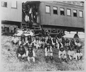 Apaches at rest stop beside Southern Pacific Railway