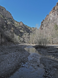Afternoon shadows come early in the deep canyon of Lower Dry Creek