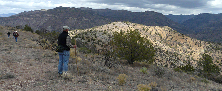 Hiking an old mining road in the Gila Fluorspar District, overlooking the Gila Wilderness.