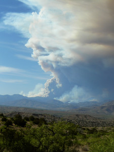 Fire on the Mountain—the Baldy and Whitewater fires combine, May 22, 2012