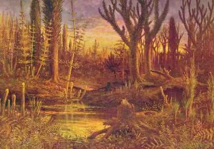 Painting of a Devonian Forest done by Eduard Riou in 1892