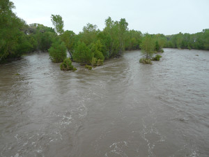 Gila River at NM211 bridge at flood stage of 12,000 cubic feet per second on September 16, 2013.