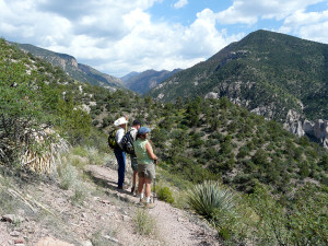 Hiking a forest trail up Whitewater Canyon towards the Gila Wilderness, September 2, 2013.