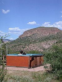 enjoying the hot tub near Silver City